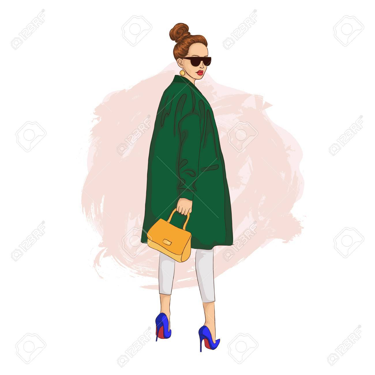 メガネと黄金袋に緑色のコートのファッションの女の子ファッション