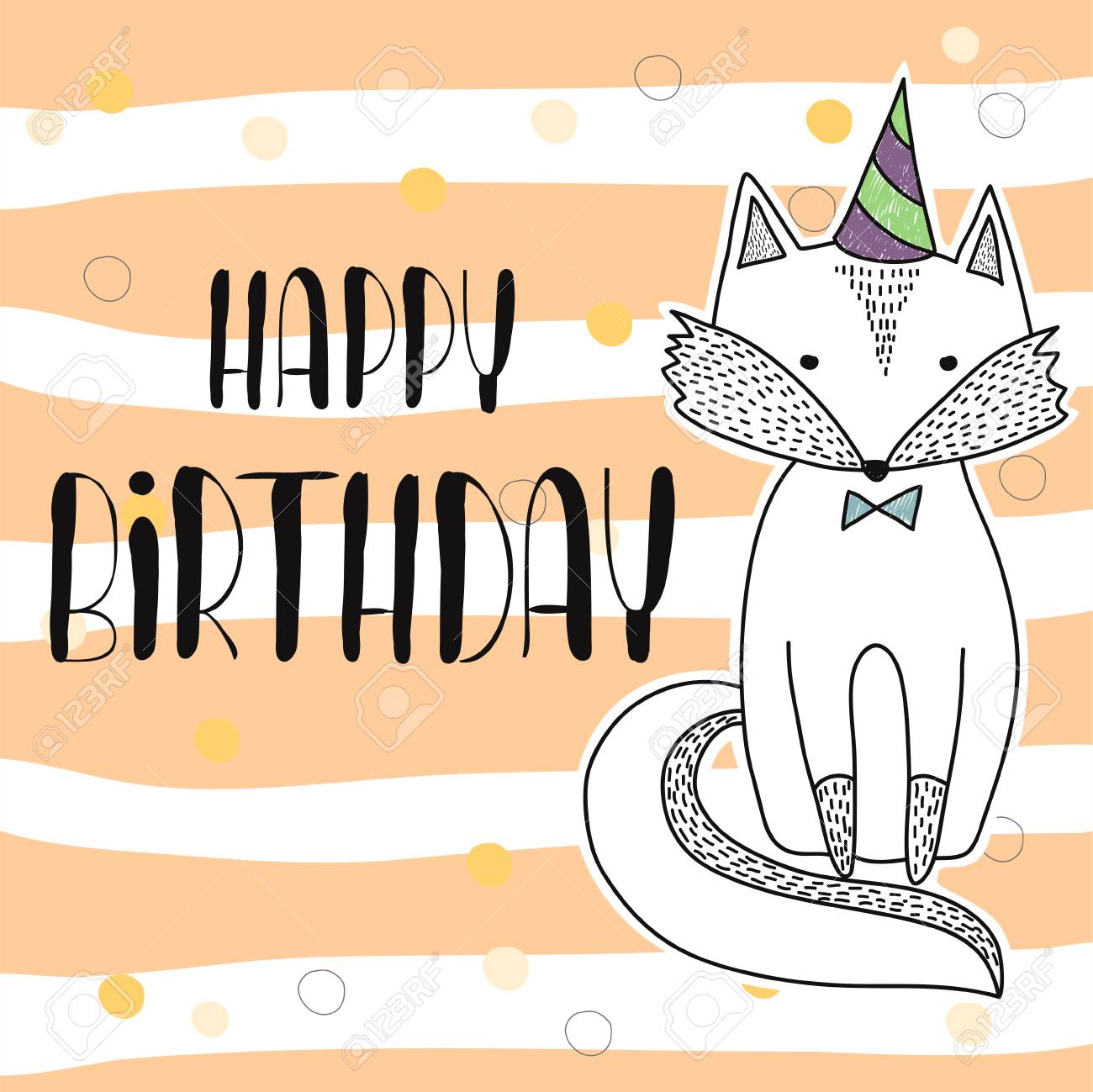 Happy Birthday Poster Hand Drawn Cute Little Fox Children S Royalty Free Cliparts Vectors And Stock Illustration Image 82426004