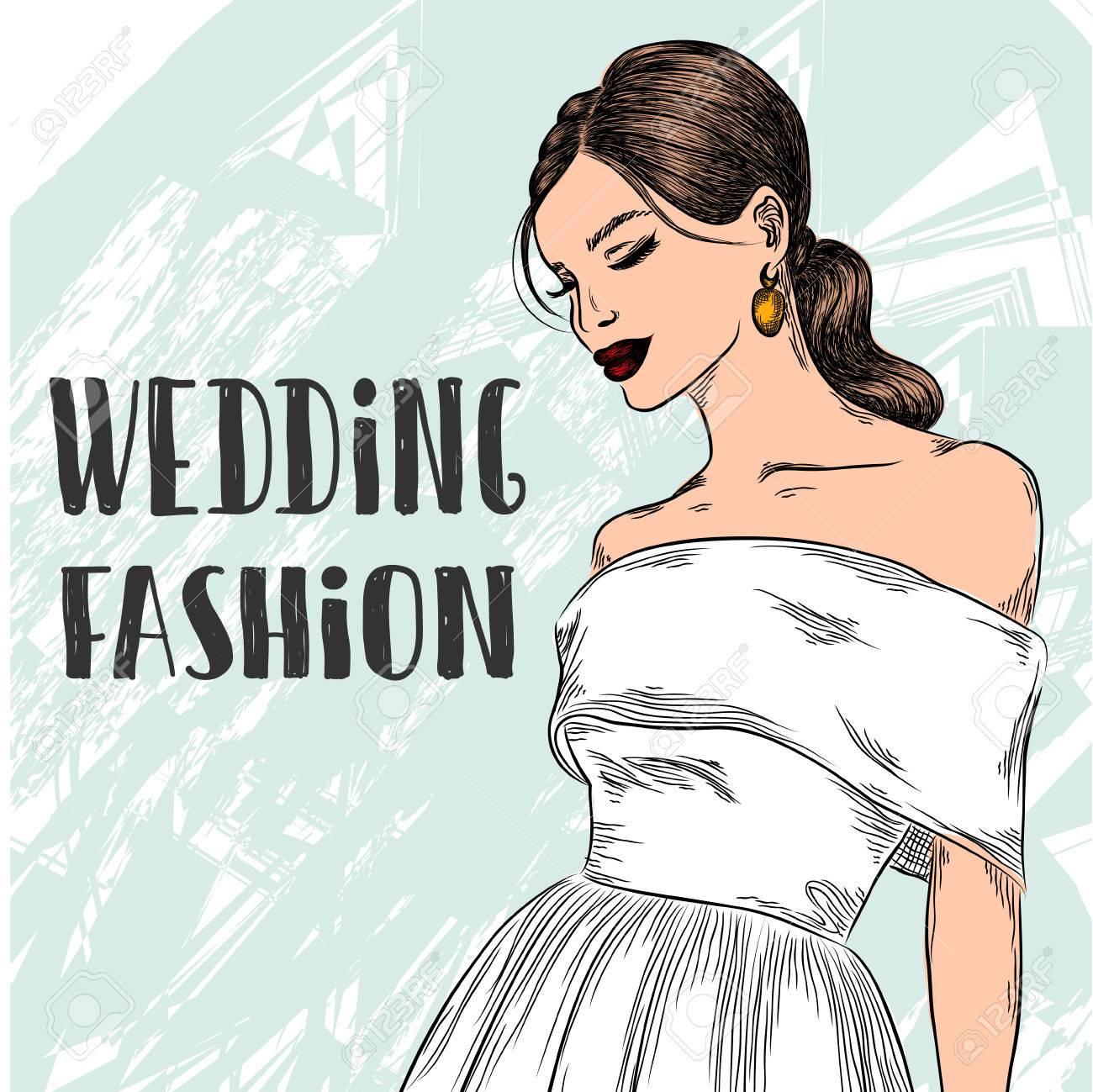 Fashion Frau Braut Mädchen Im Wunderschönen Weißen Hochzeitskleid ...