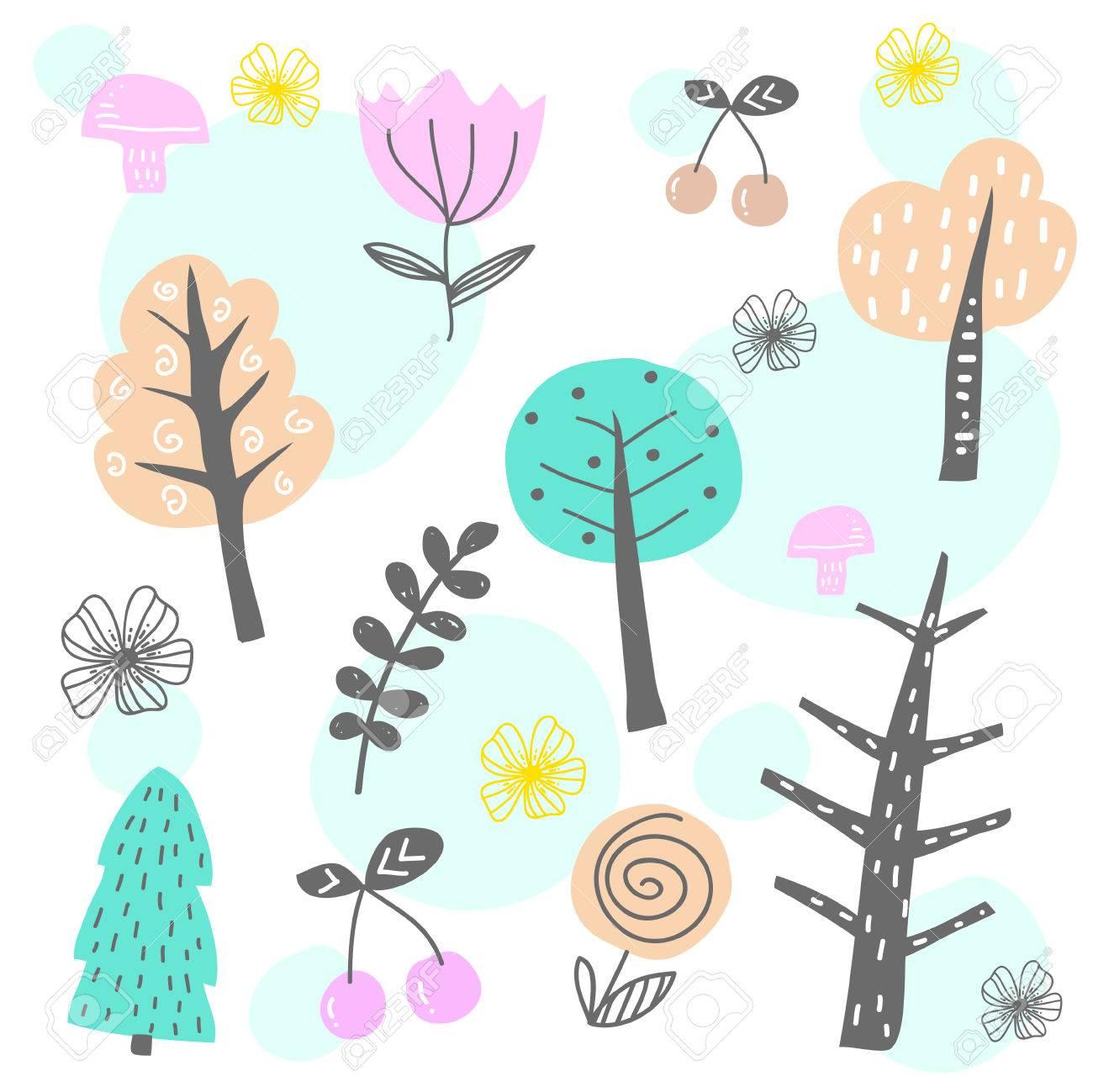 Patrón Sin Costuras Con árboles Y Flores. Fondo Del Bosque Los Niños ...