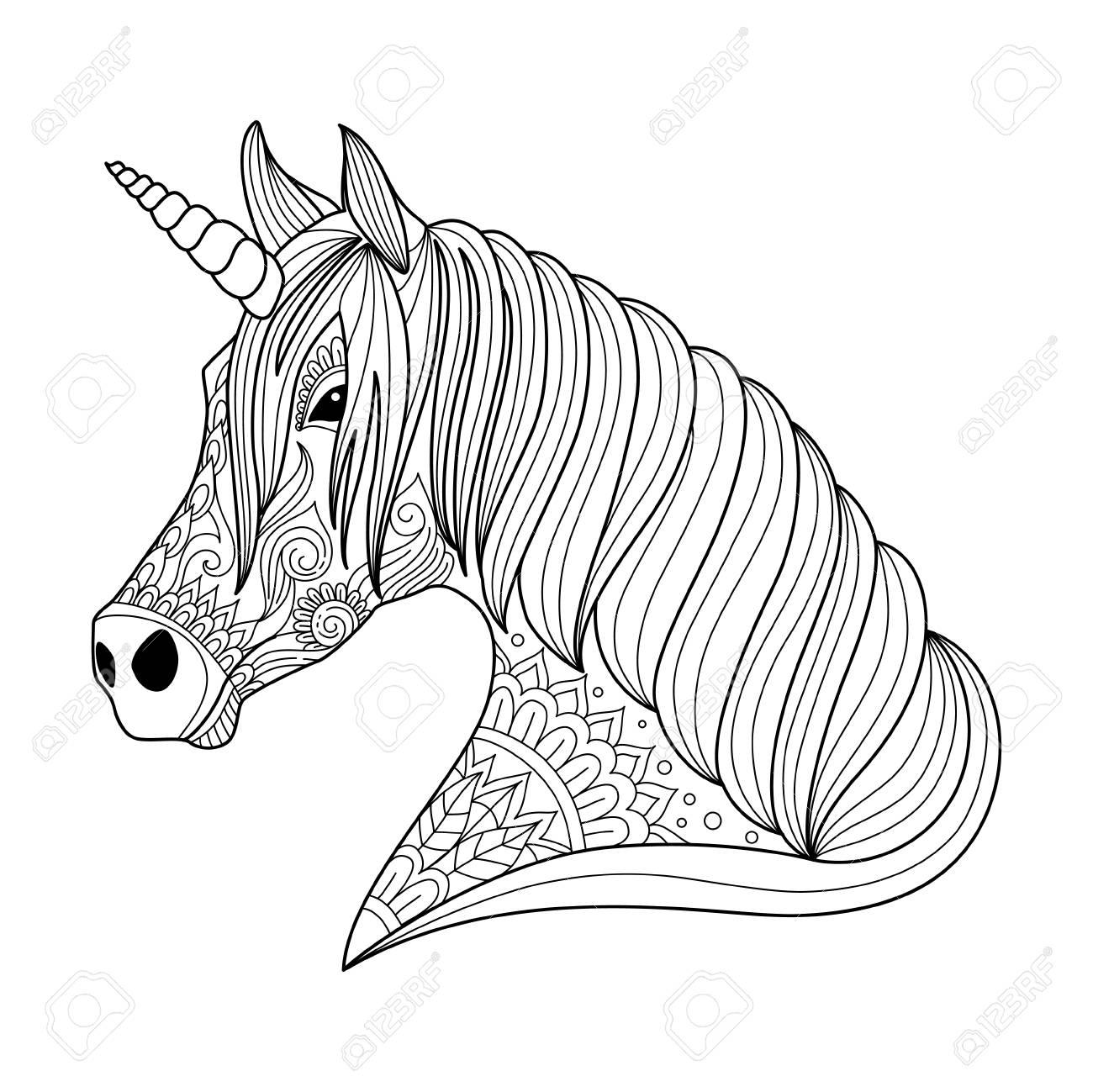 Dibujo Unicornio Estilo Zentangle Para Adultos Y Ninos Para Colorear