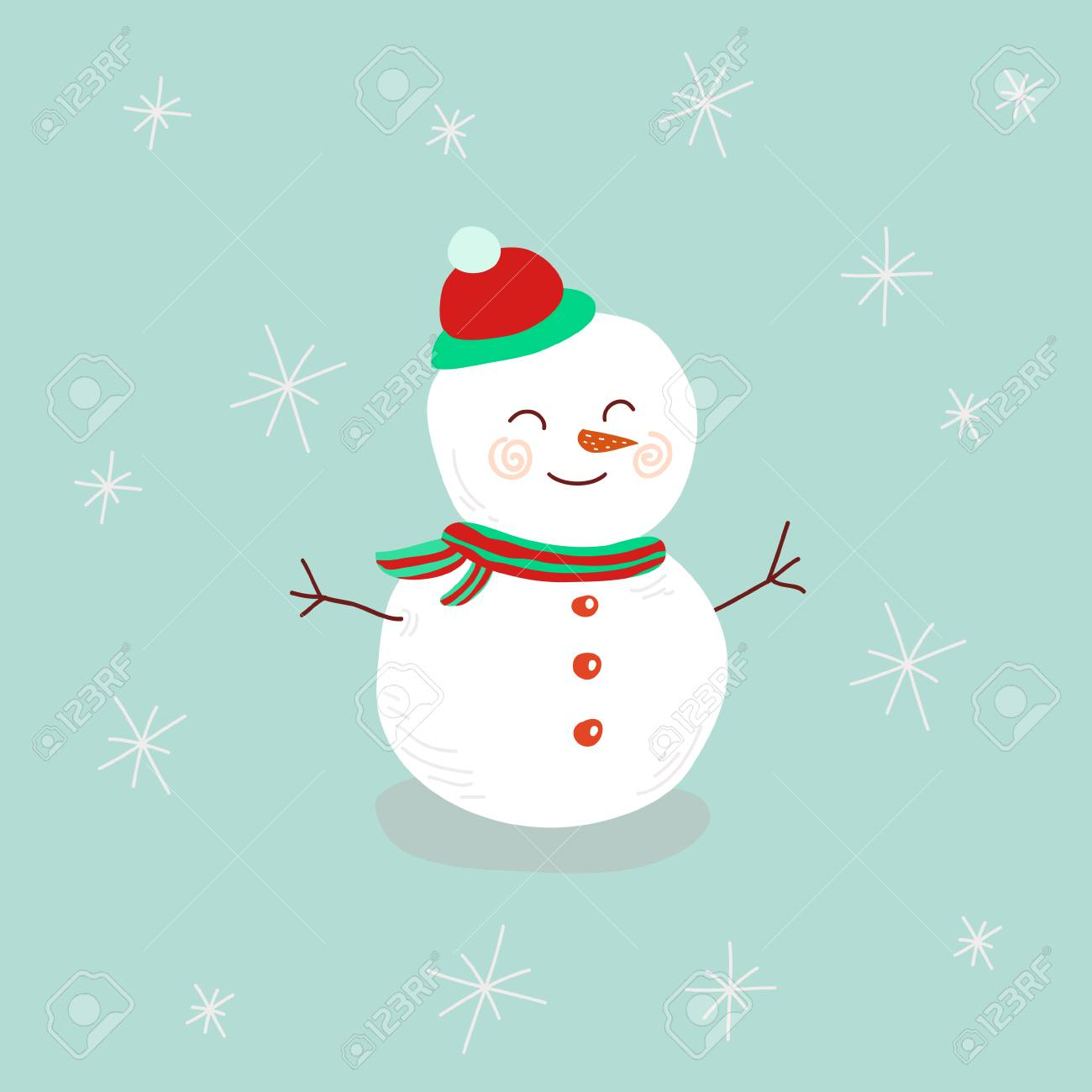 81a5ce0ffab6e Snowman Cute Illustration For Christmas And New Year Post Card ...