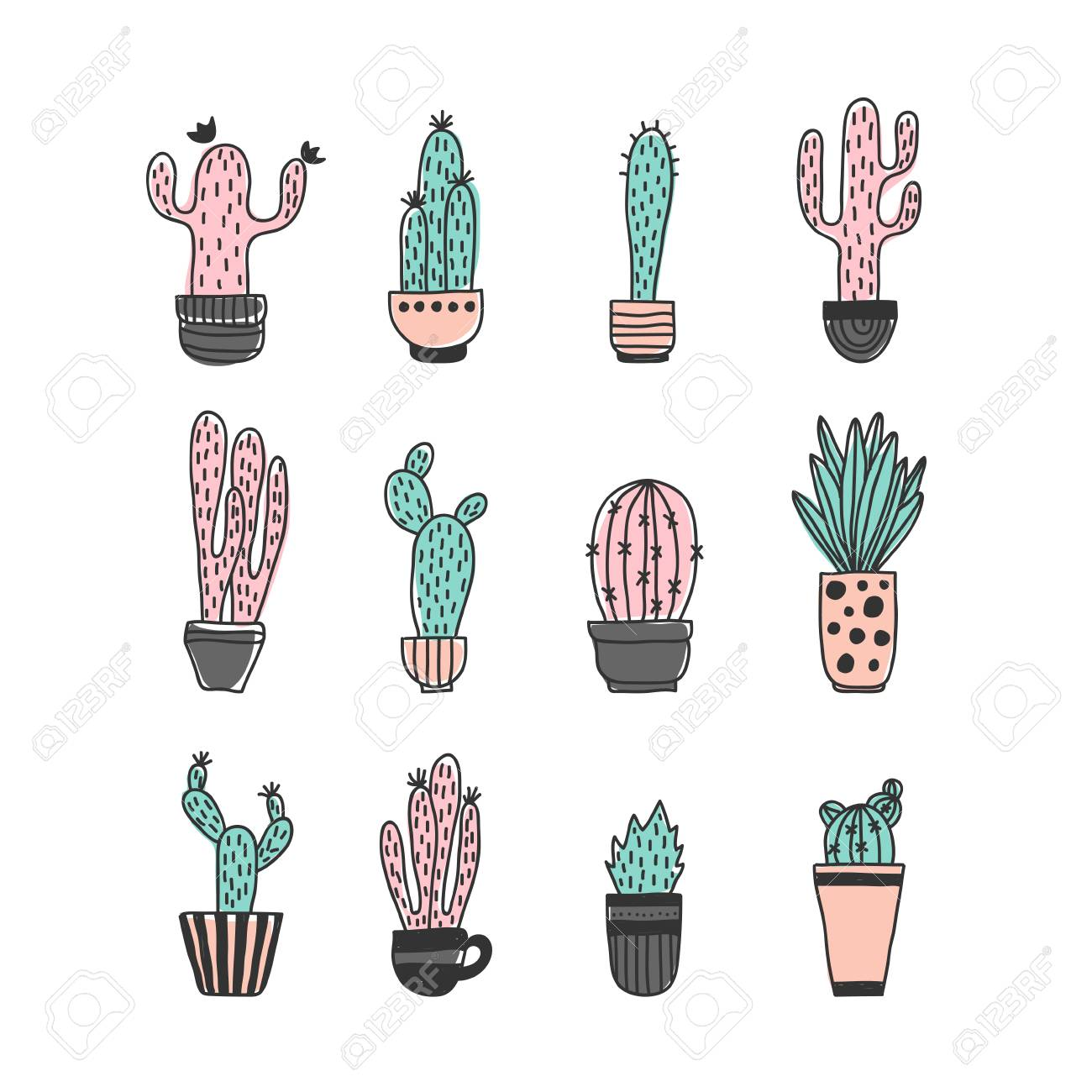 Cactus In Pot Set Colored Funny Cute Cactus Vector Set Cute Plants Mexican Cactus Set Modern Cactus Illustration Royalty Free Cliparts Vetores E Ilustracoes Stock Image 88311615