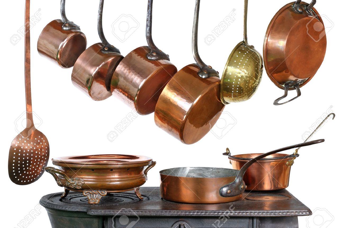 Pfannen Und Küchenutensilien In Kupfer Lizenzfreie Fotos, Bilder Und ...