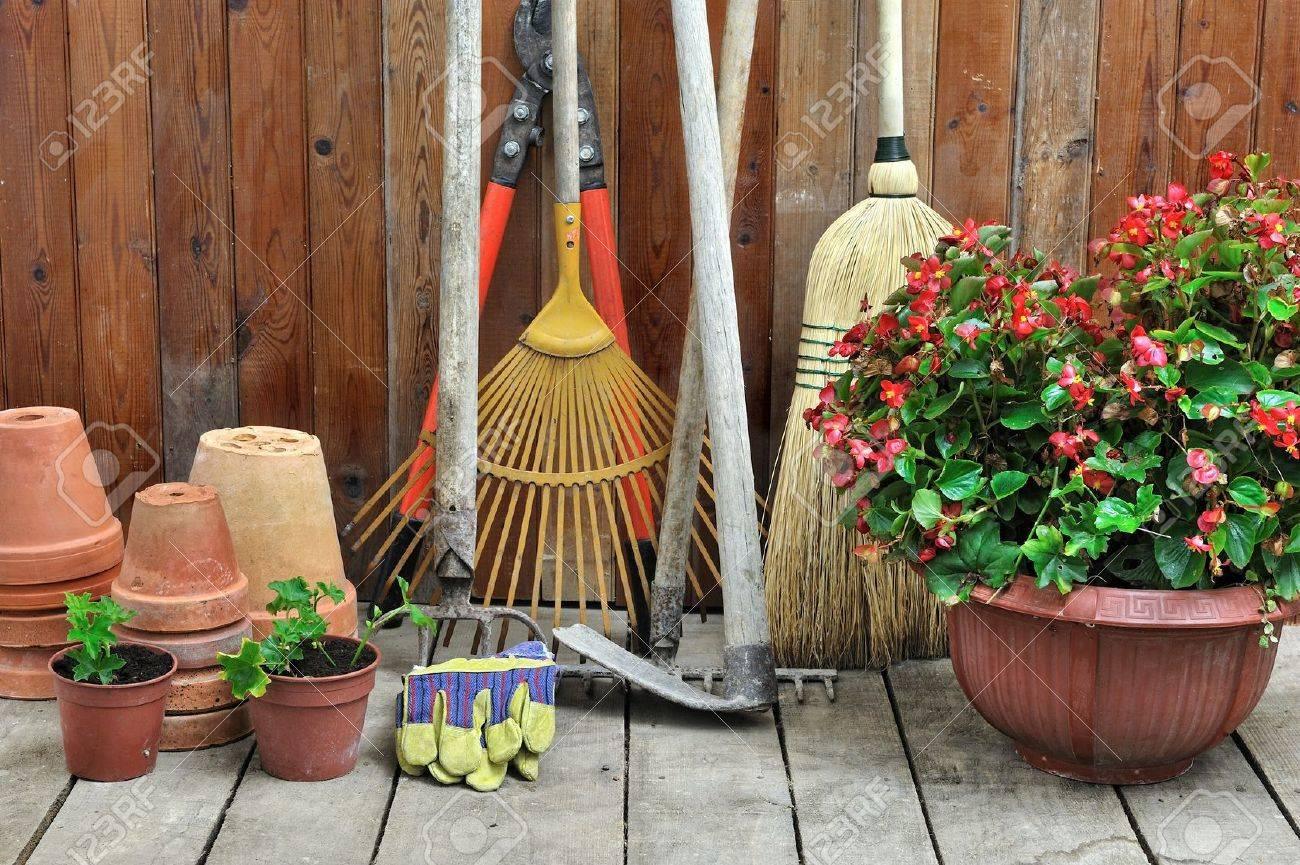 A Garden Shed With All The Tools Of The Gardener Stock Photo ...