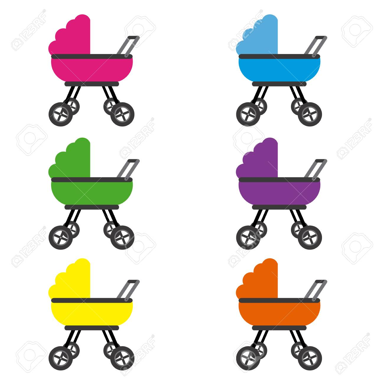 571d216ce Baby Stroller Set On Plain Background Royalty Free Cliparts