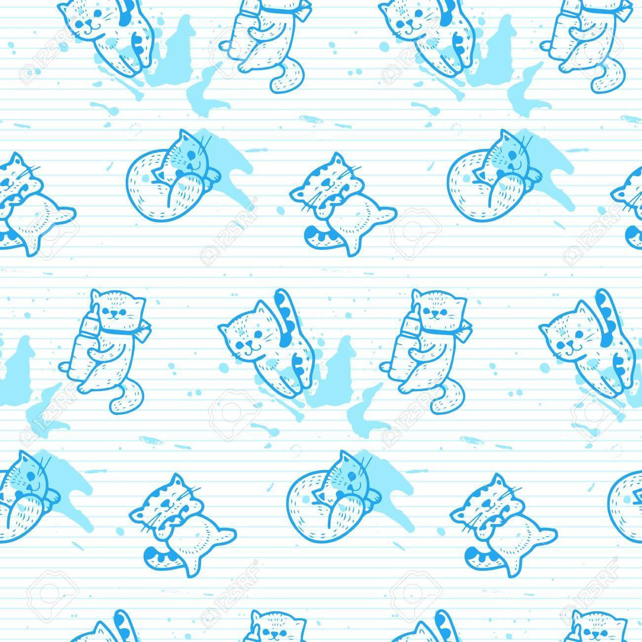 Patrón Sin Costuras - Gatitos De Dibujos Animados Divertidos ...