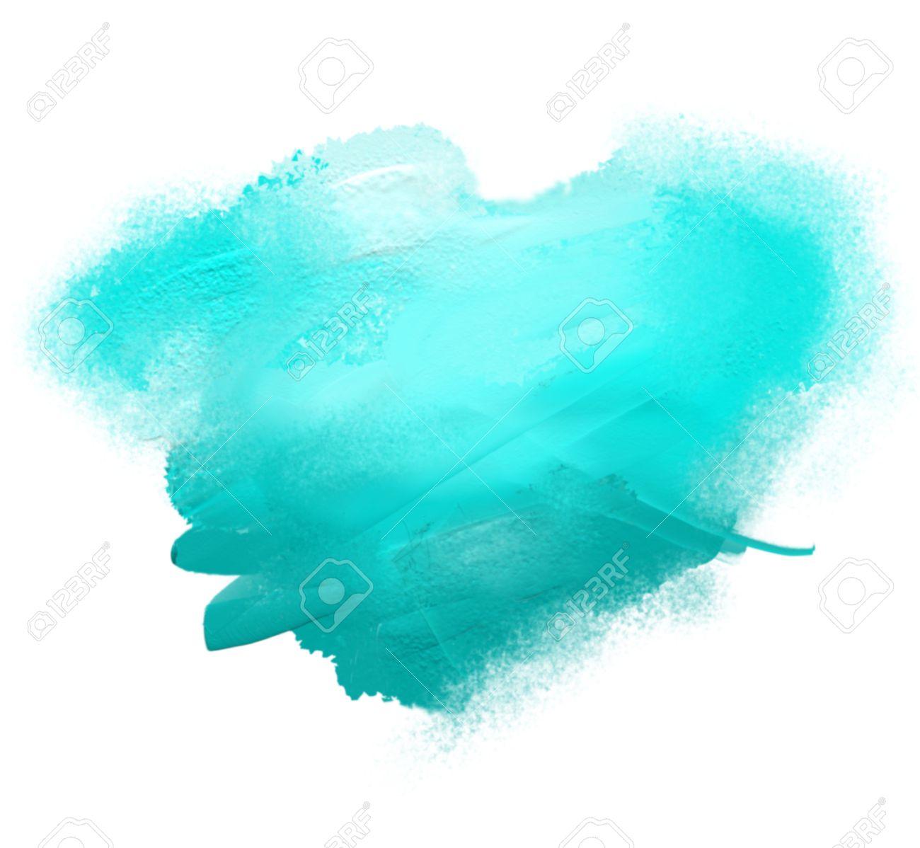 Bleu Tache De Peinture Acrylique Isolé Sur Un Fond Blanc Banque D