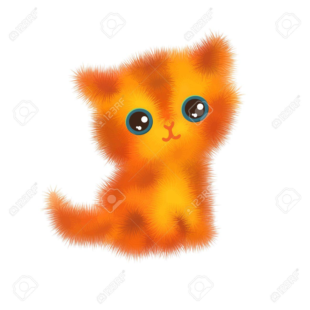 Ilustración De Dibujos Animados Divertidos Gatitos Gato Esponjoso