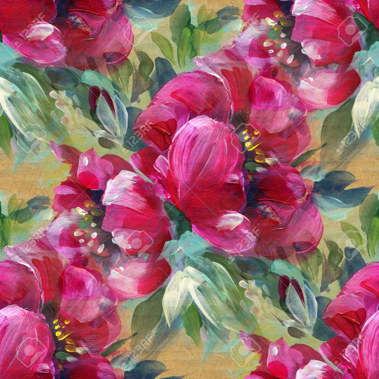 Colorful Background With Red Flowers, Acrylic Painting. Seamless ...