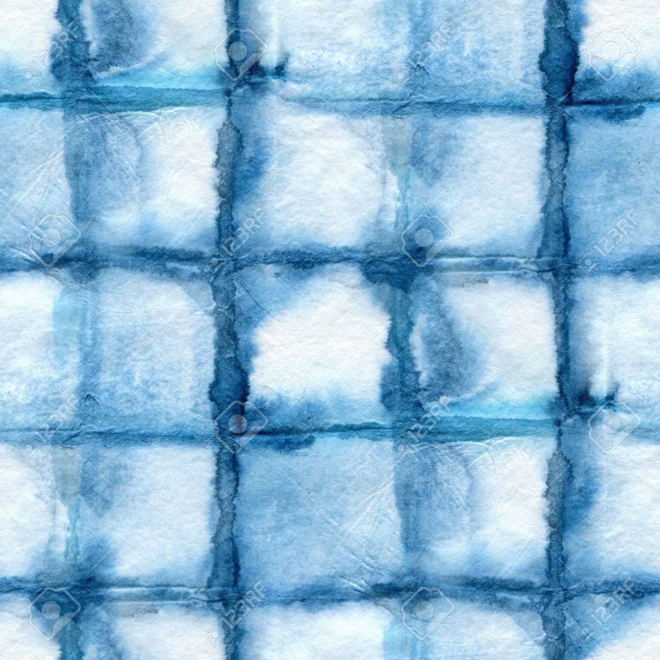 Seamless tie-dye pattern on white silk. Batik-hand painting fabrics - nodular batik. Shibori dyeing. The Indigo color. - 51847469