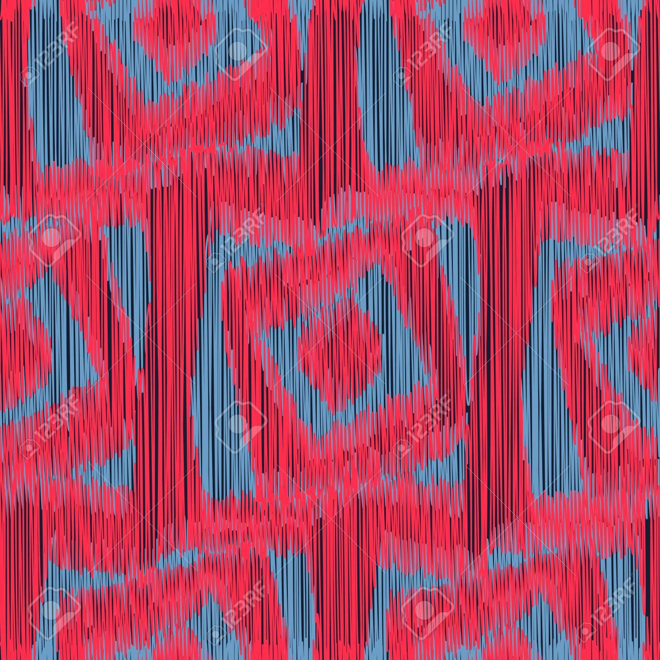 Rouge Et Gris Motif Ikat Transparente Avec Un Ornement Geometrique