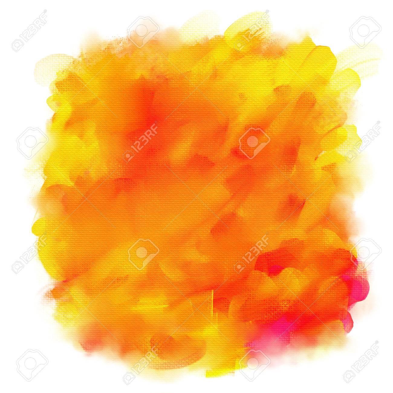 Orange Et Tache Jaune De Peinture Acrylique Isolé Sur Un Fond Blanc