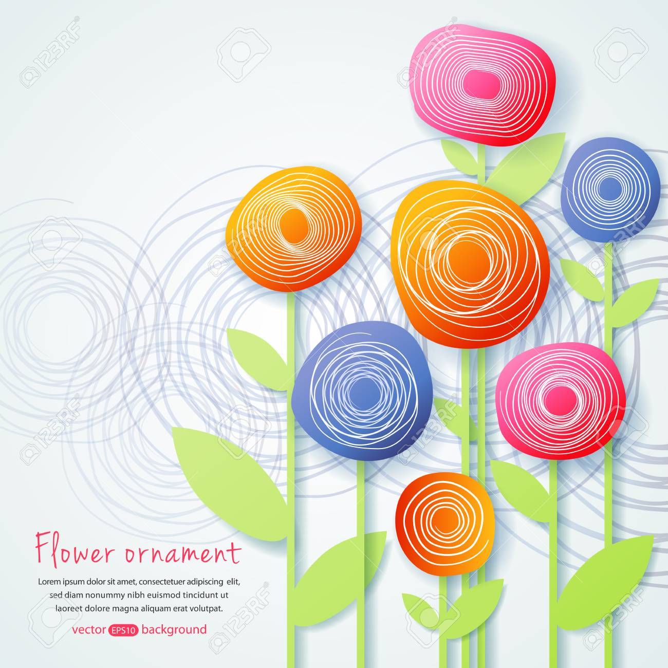 Background With Simple Paper Flowers The Illustration Contains