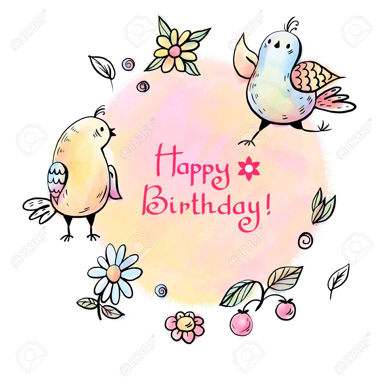 Greeting card happy birthday with birds and flowers vector greeting card happy birthday with birds and flowers vector illustration izmirmasajfo