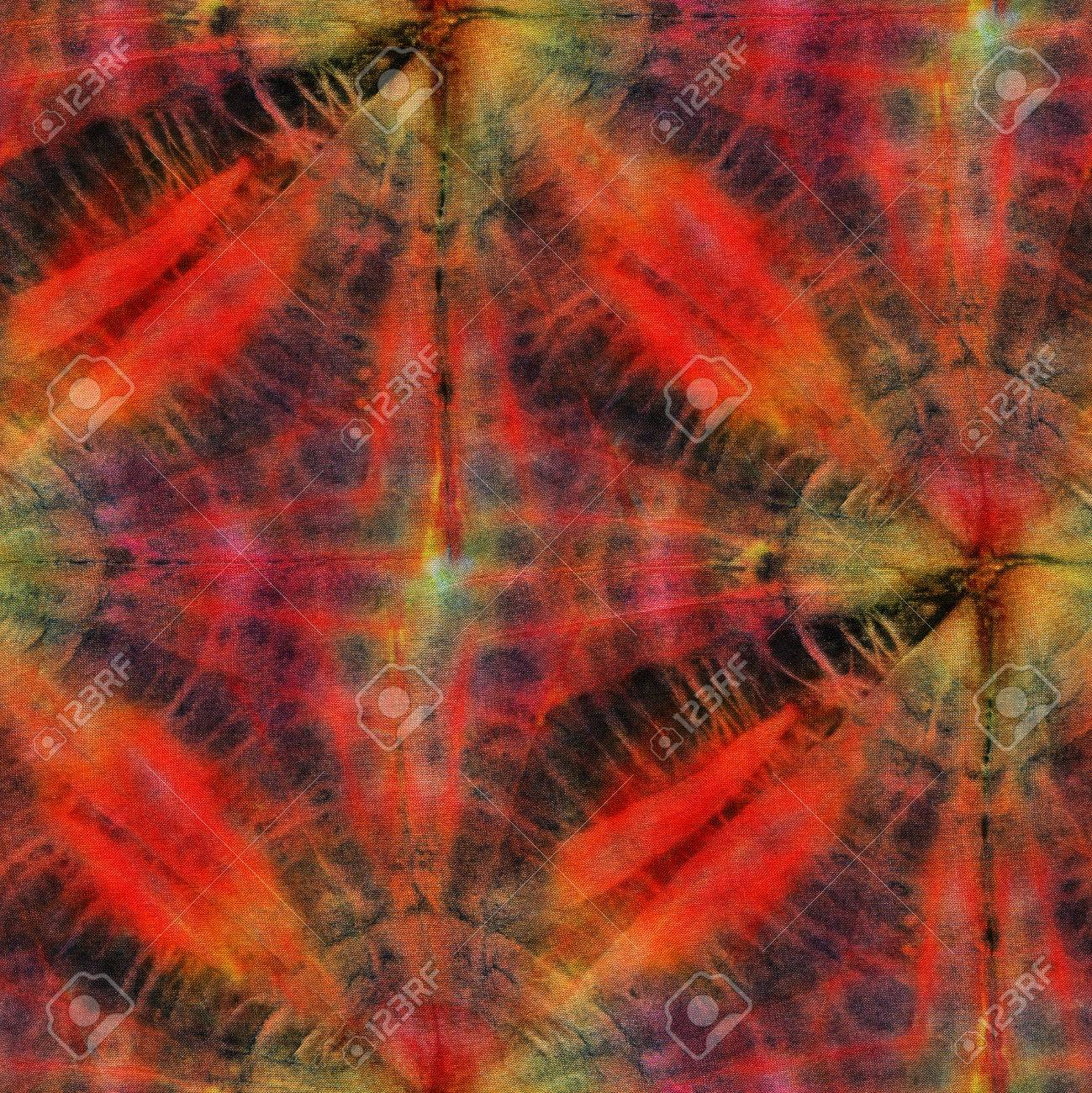 a04f878f9e9b Seamless tie-dye pattern of red and black color on white silk. Hand painting