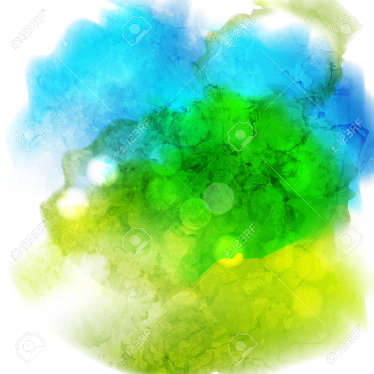 Green and blue watercolor background  Hand-drawn illustration
