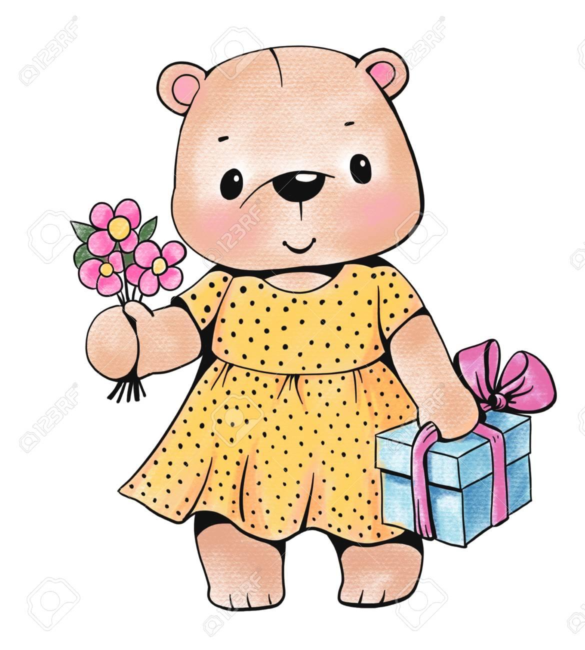 Ours En Peluche Avec Cadeau Et Fleurs Isolees Sur Fond Blanc Dessin