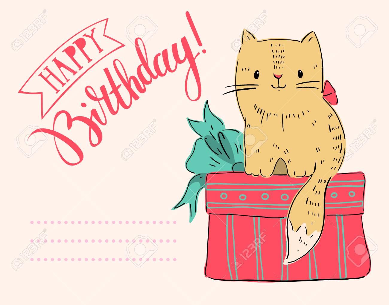 Carte De Voeux Joyeux Anniversaire Avec Le Chat Et Le Cadeau