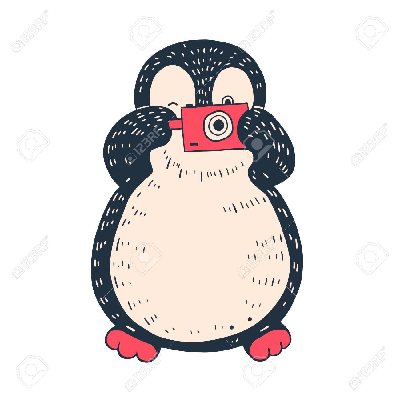 カメラでかわいいペンギンのイラスト 手描きのイラスト ベクトル のイラスト素材 ベクタ Image
