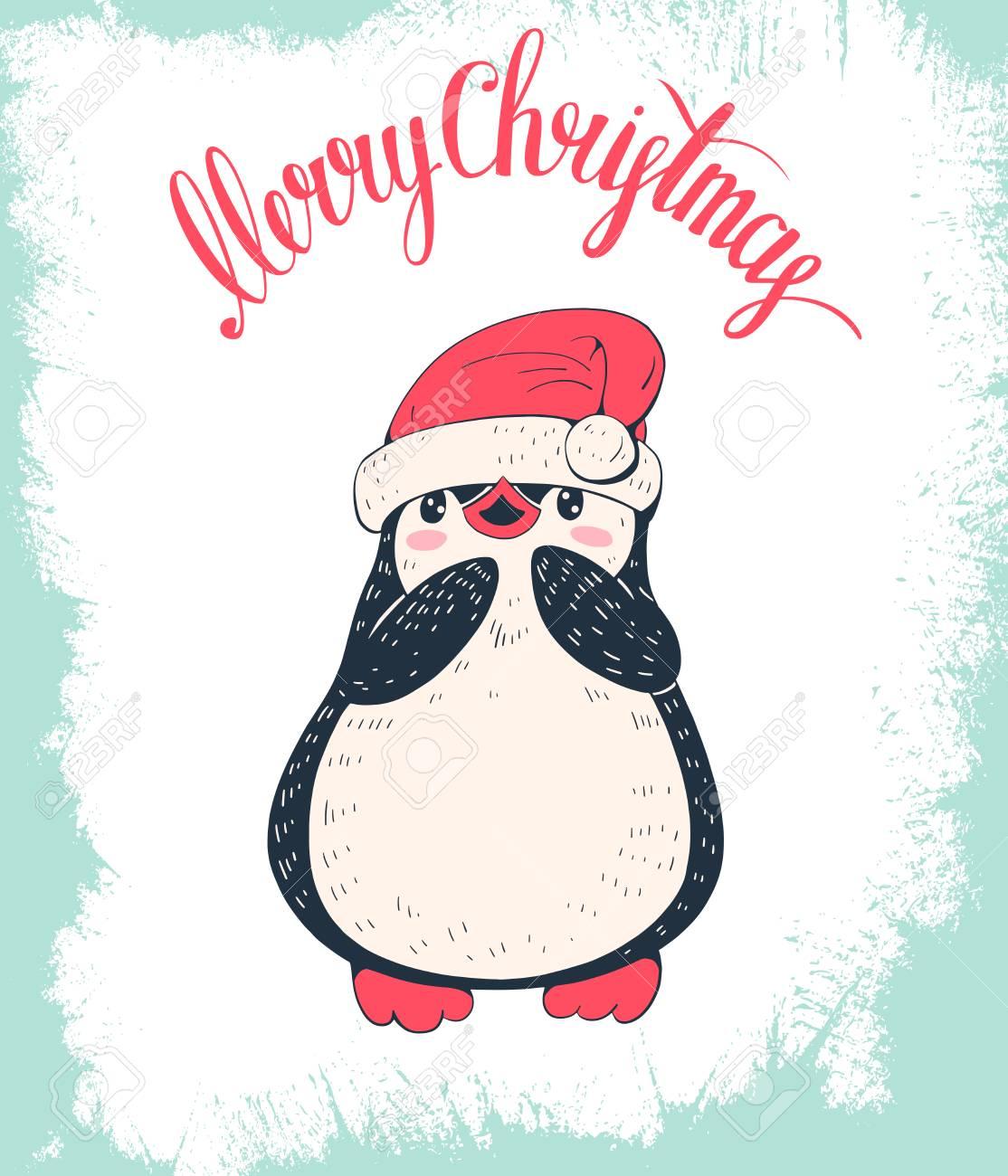 Carte De Noël. Pingouin Mignon Dans Une Casquette. Illustration