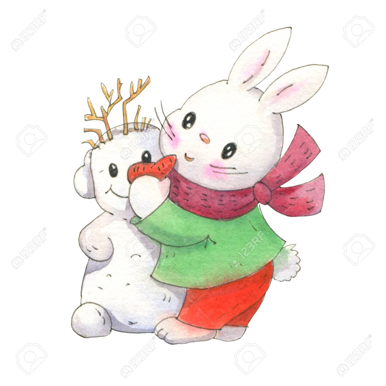 Ð ute bunny with a snowman isolated on a white background drawing