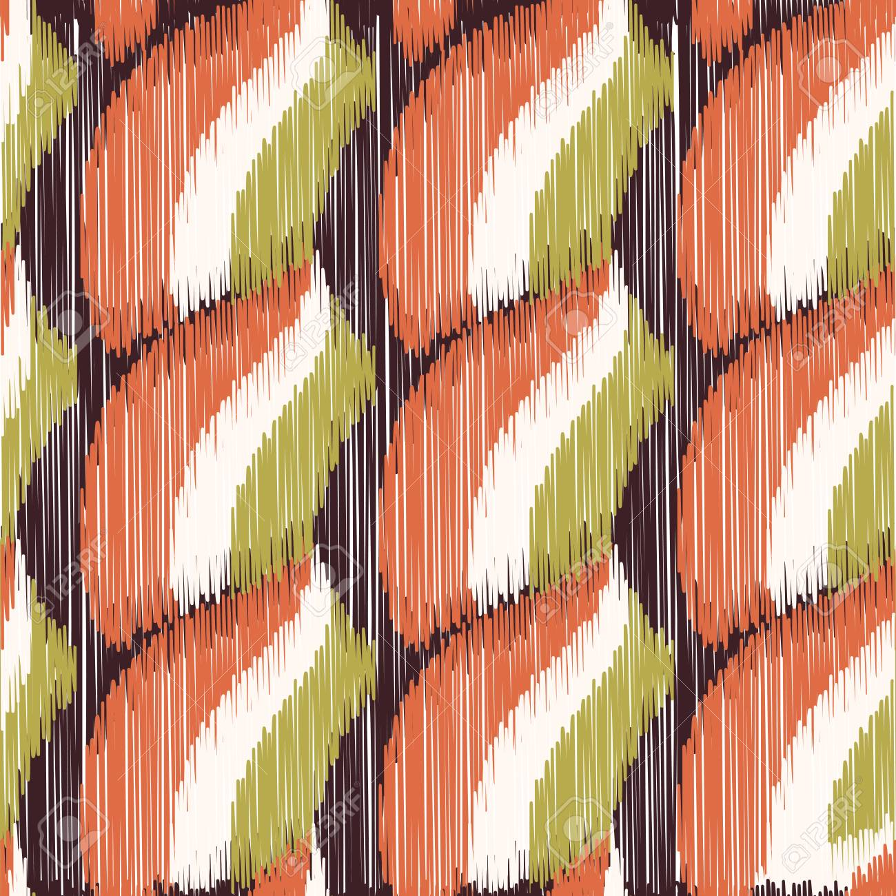 Seamless Ikat Pattern. Abstract background for textile design, wallpaper, surface textures, wrapping paper. - 121311885