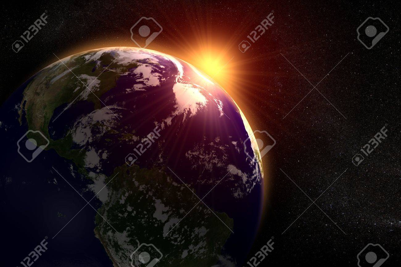 Space landscape of the sun rising behind the earth Stock Photo - 8014698