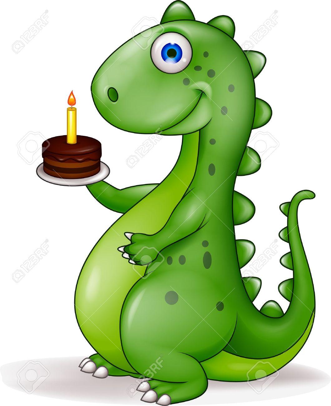 Funny Dinosaur With Birthday Cake Royalty Free Cliparts Vectors