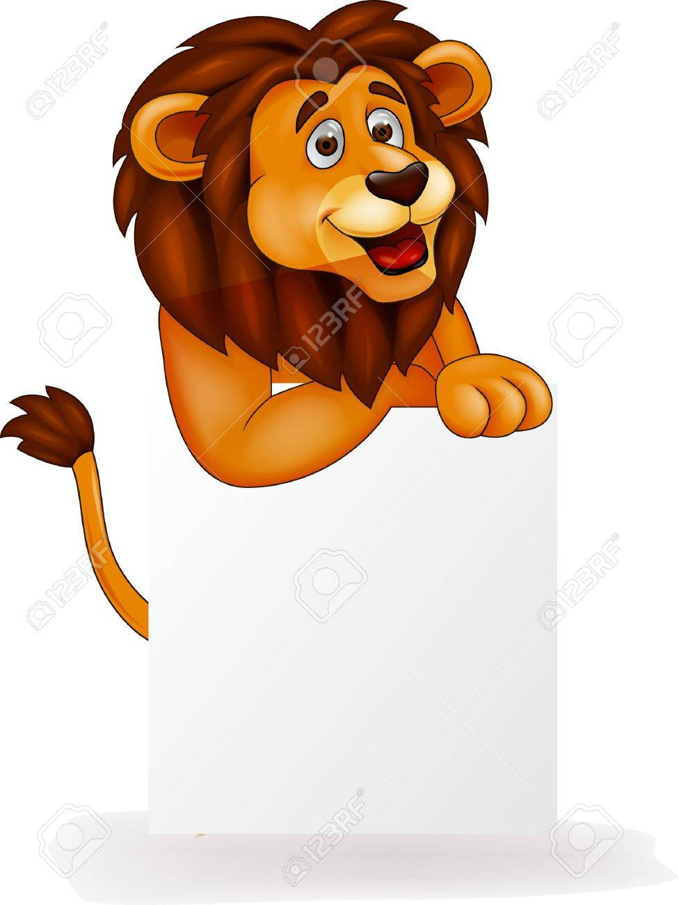 Lion cartoon with blank sign Stock Vector - 15925177