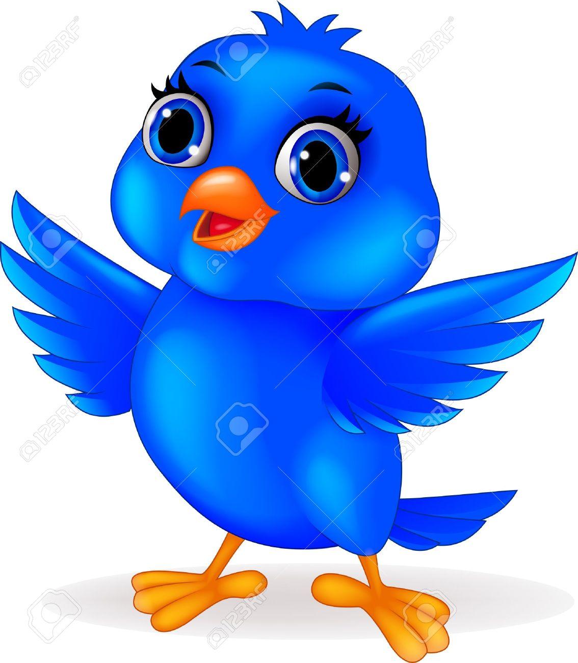 Pájaro Azul De Dibujos Animados Ilustraciones Vectoriales Clip Art