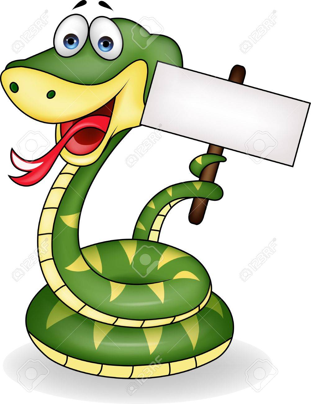 Snake with blank sign Stock Vector - 16708264