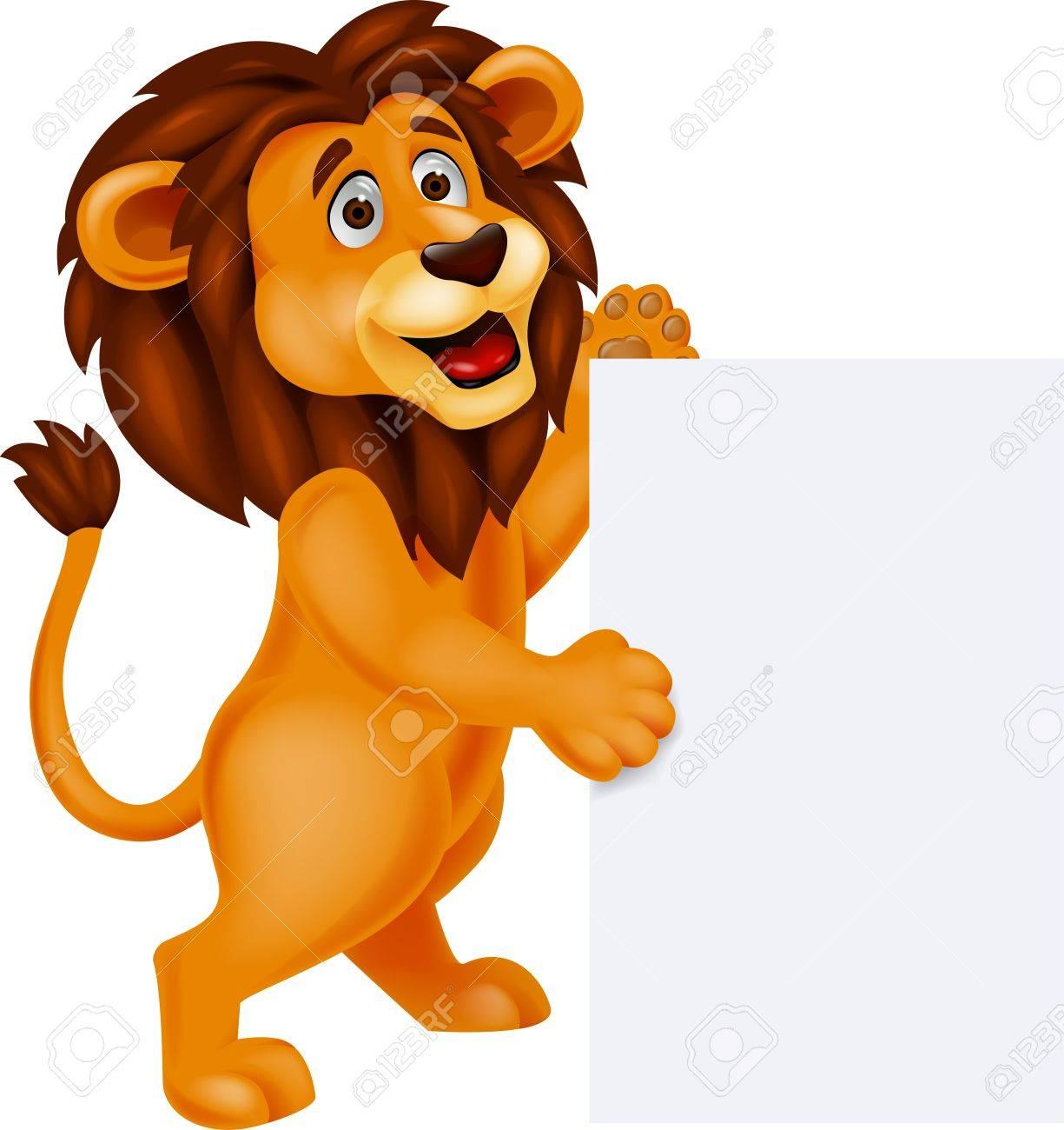Lion cartoon with blank sign Stock Vector - 17140364