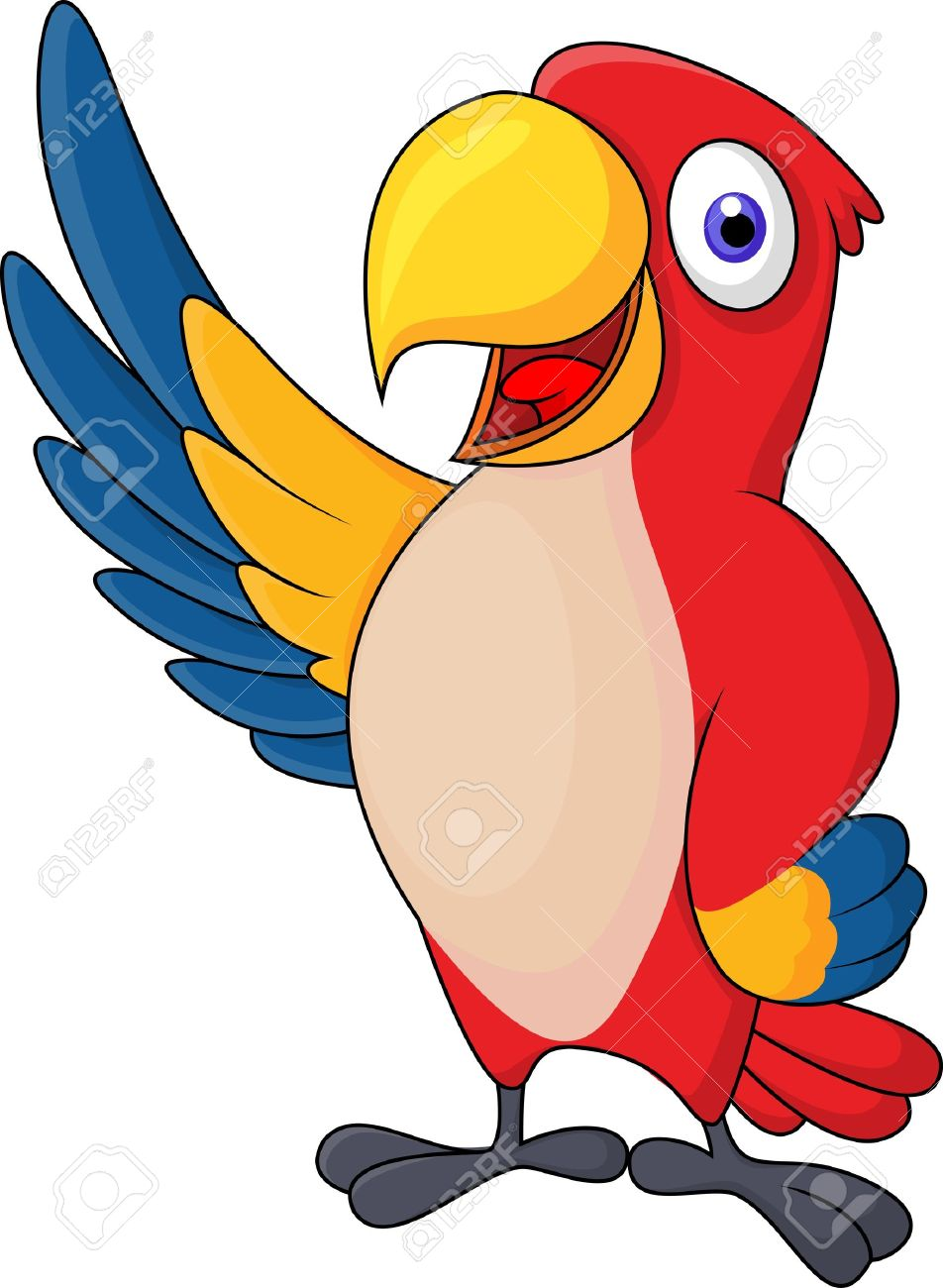 Macaw bird cartoon waving Stock Vector - 18047075