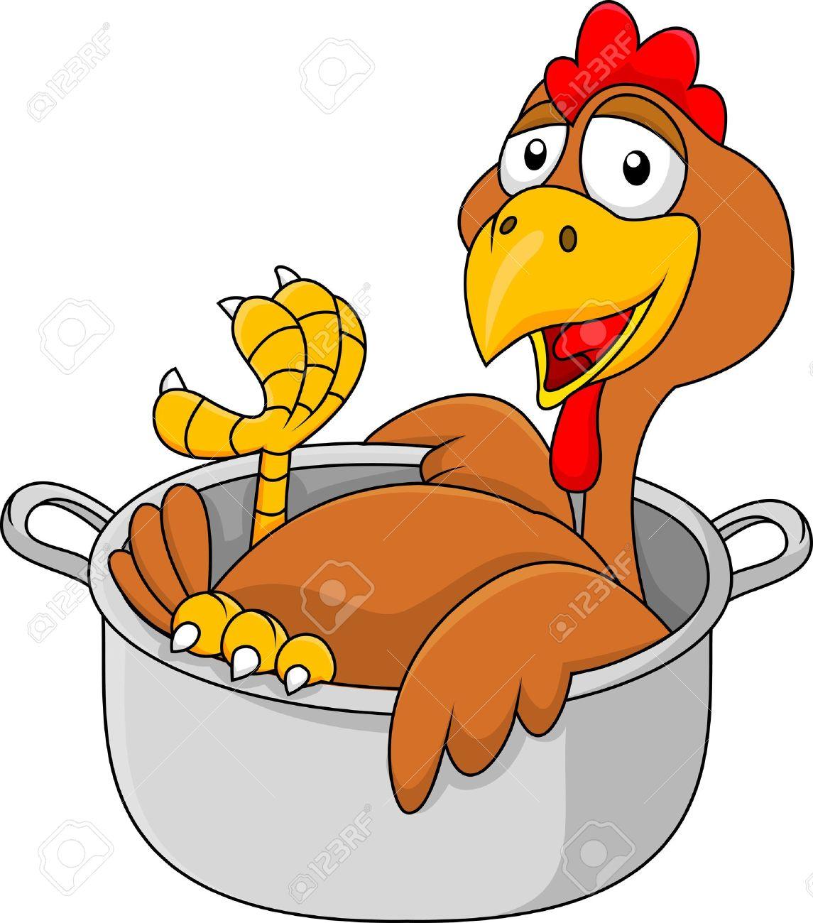 Dessin Animé Poule dessin animé poulet dans la casserole clip art libres de droits