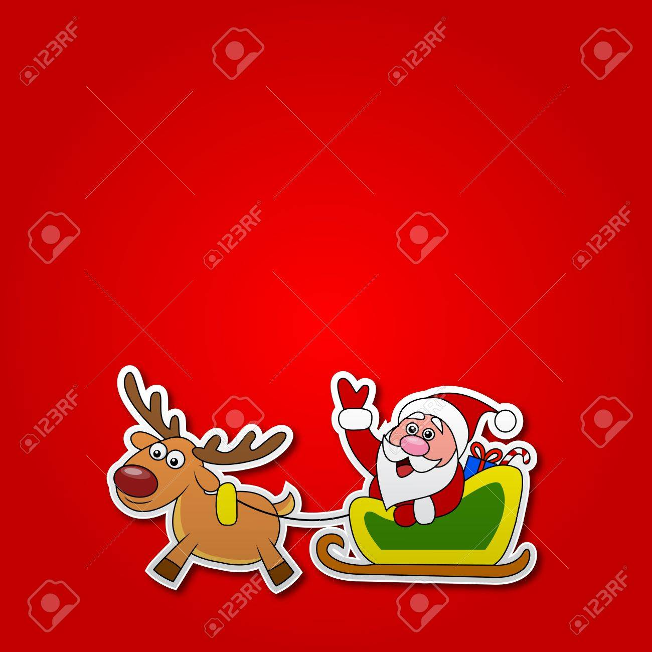 paper cut of Santa drives his sleigh Stock Vector - 18586425