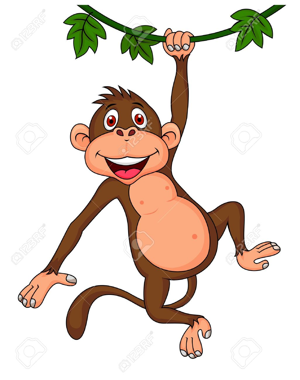 Images for simple cartoon monkey hanging - Cute Monkey Hanging Stock Vector 18586337