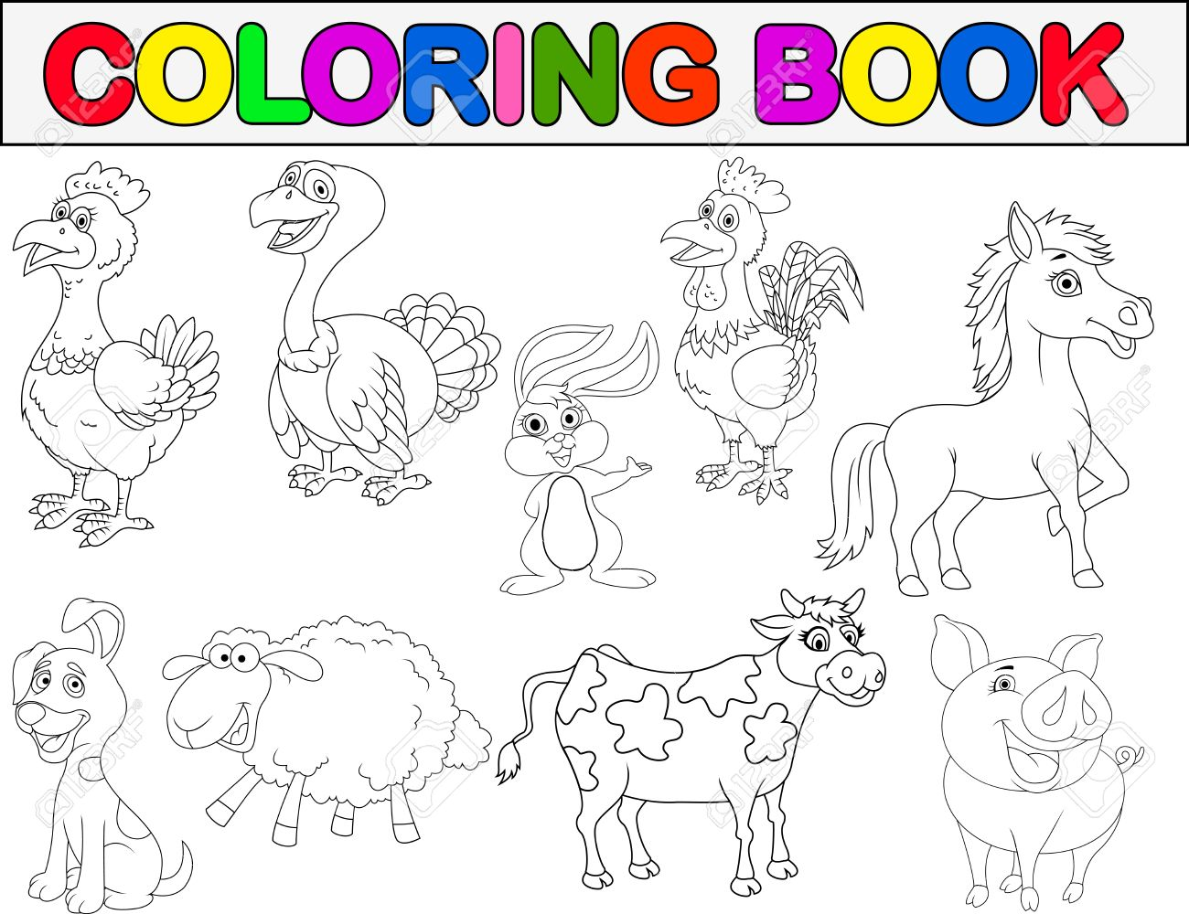 Farm Animal Coloring Book Stock Vector