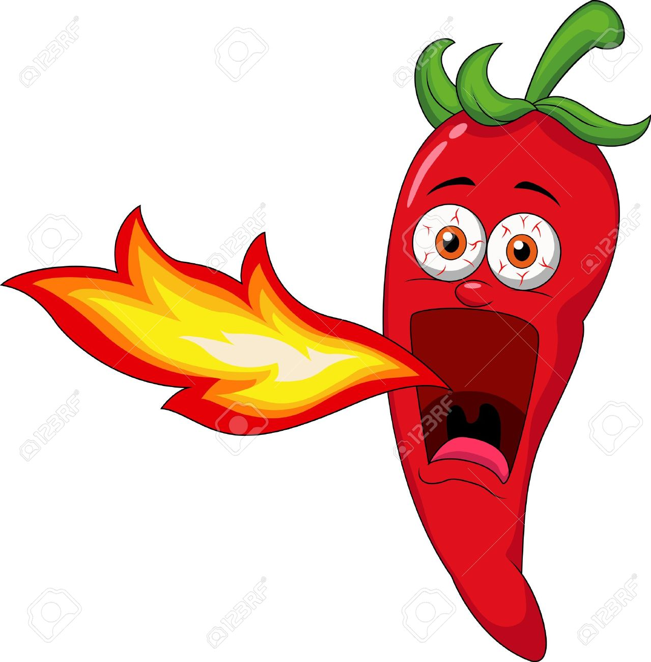 Chili Cartoon Character Breathing Fire - 18599389