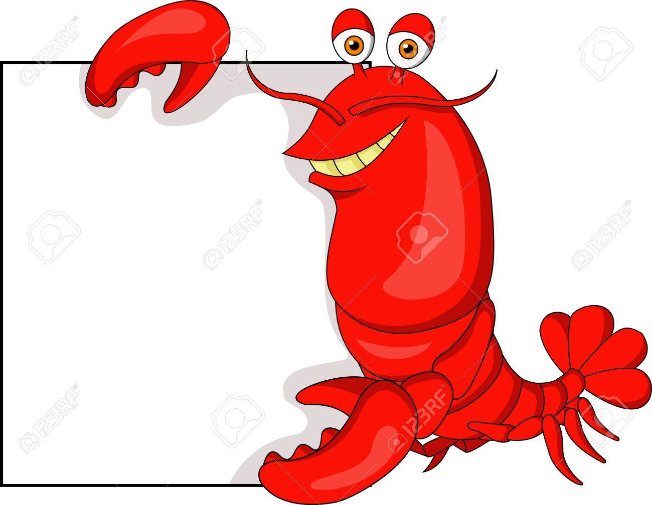 Lobster cartoon with blank sign Stock Vector - 18879157