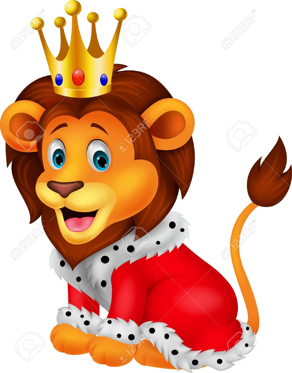 Cartoon lion in king outfit Stock Vector - 19024626