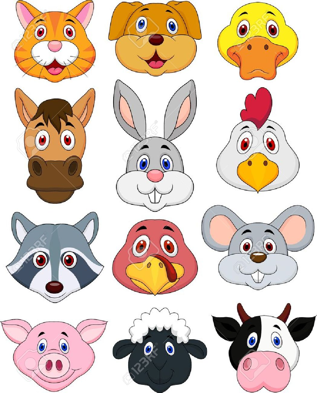 Animal head cartoon set Stock Vector - 19024625