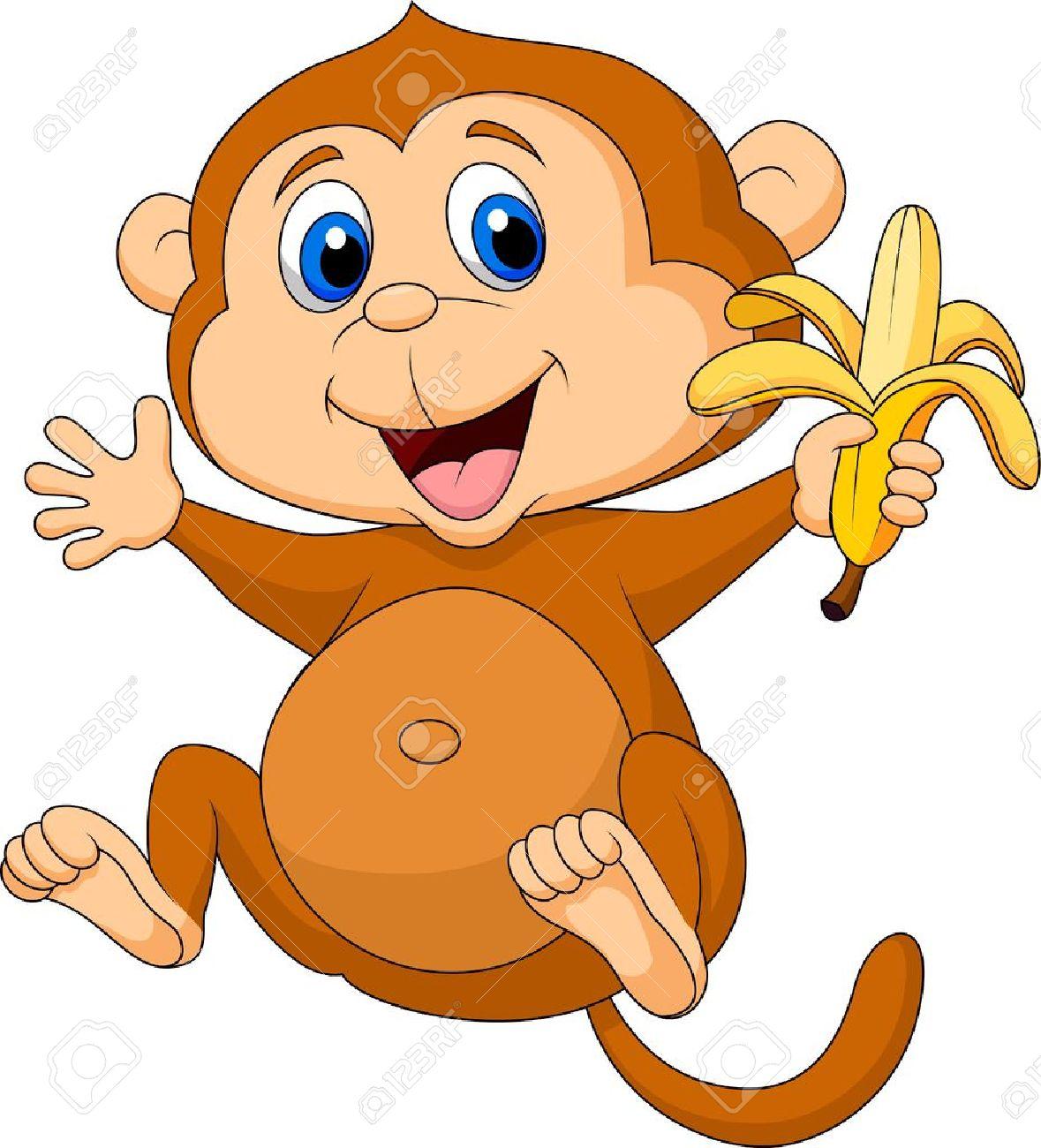 Cute monkey cartoon eating banana Stock Vector - 19119545