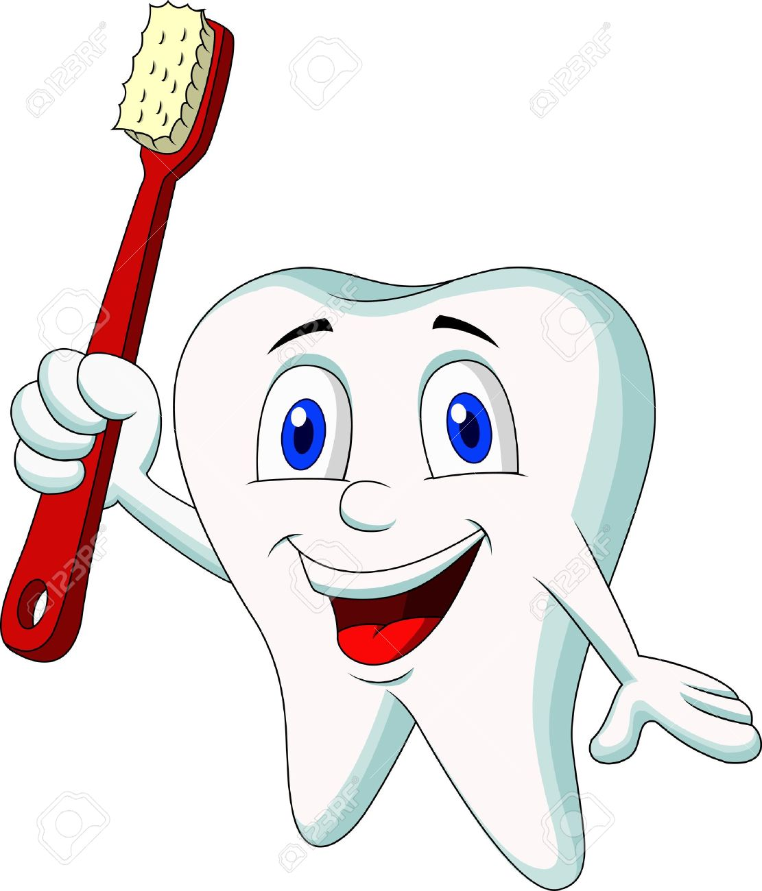 Cute tooth cartoon holding tooth brush Stock Vector - 19119573