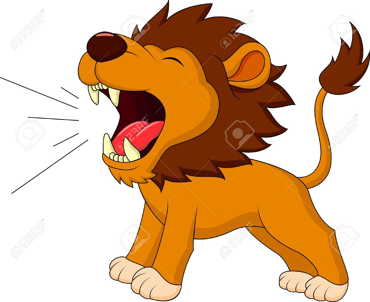 Lion Cartoon Roaring Stock Vector