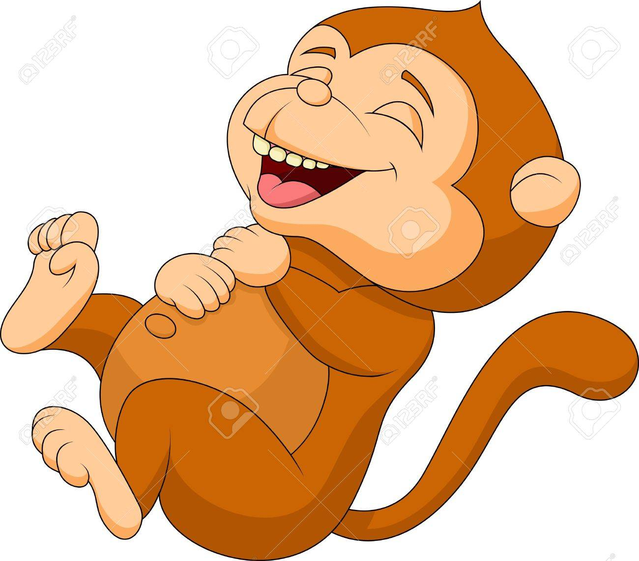 Cute monkey cartoon laughing Stock Vector - 19287812