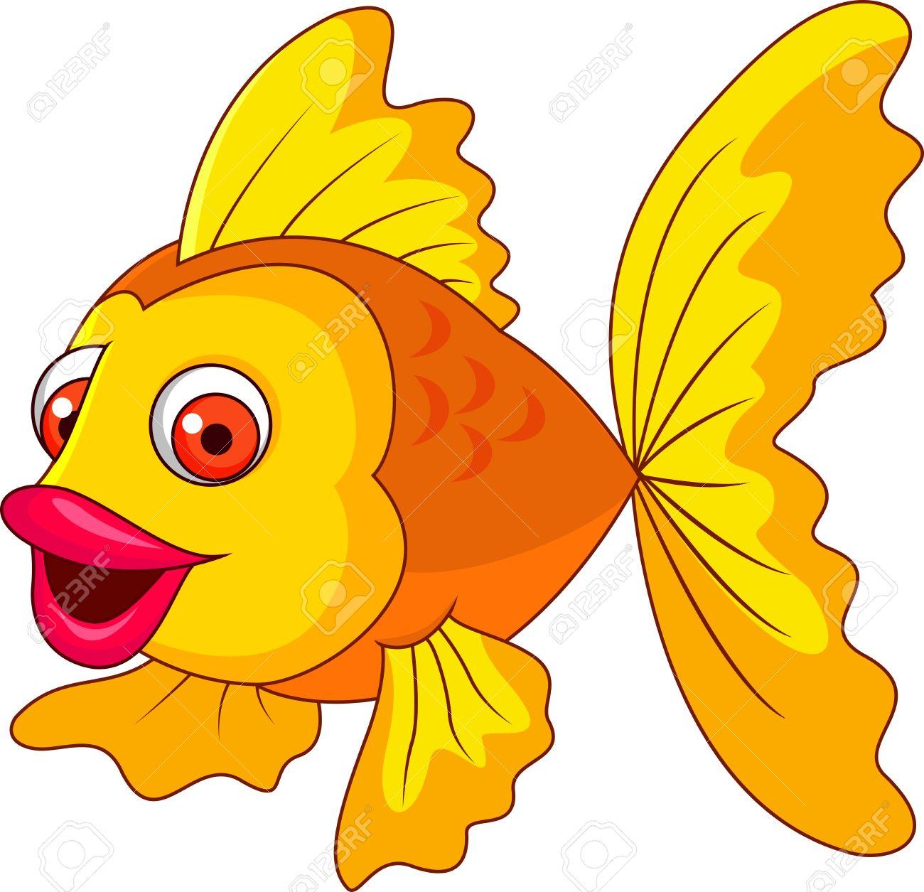Cute golden fish cartoon Stock Photo - 19287932