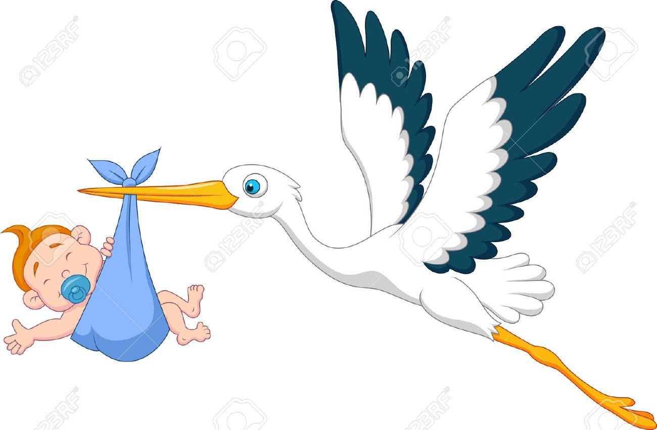 Stork with baby boy cartoon - 19583283