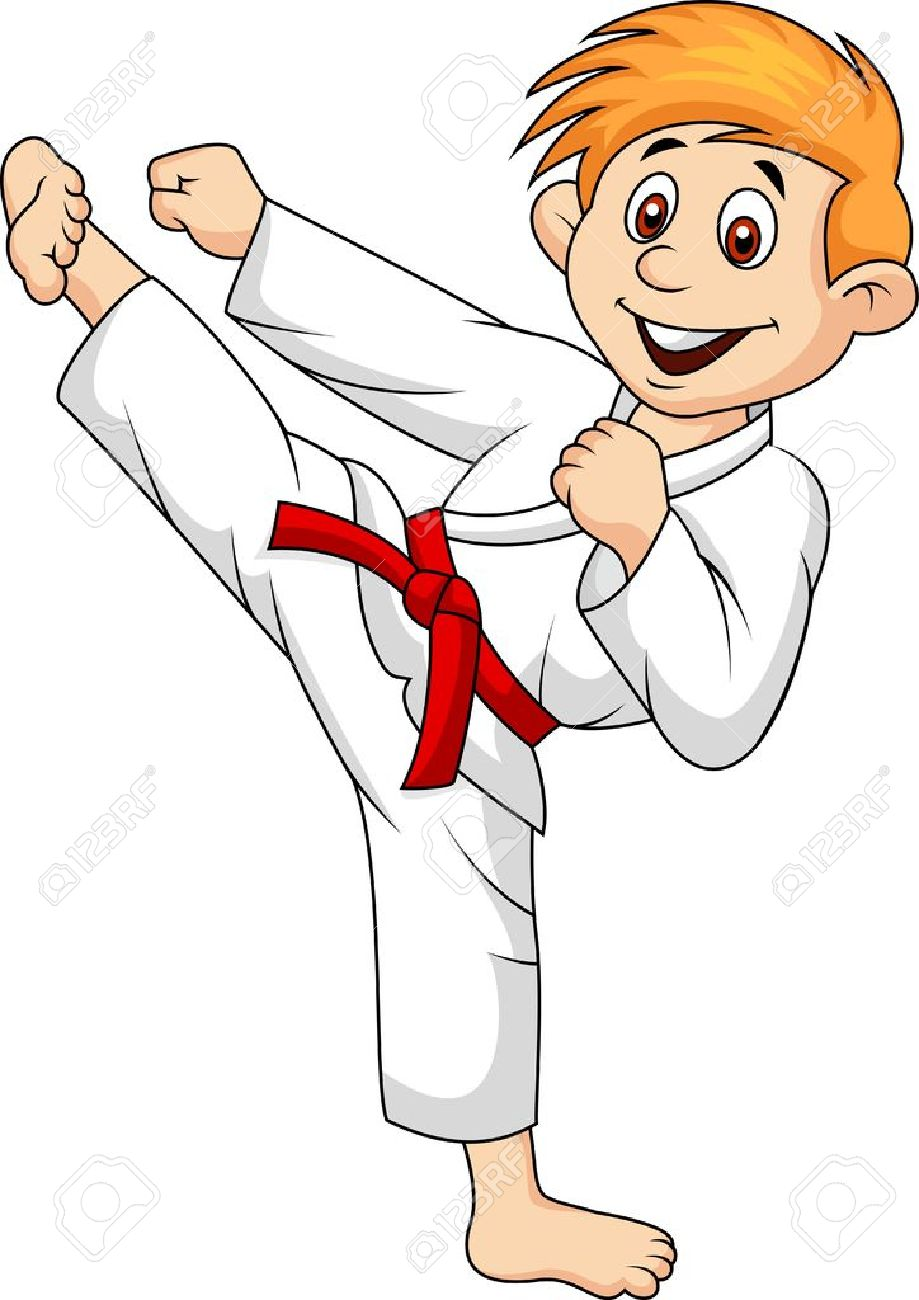 Boy Bande Dessinée Faisant Art Martial Clip Art Libres De Droits ...