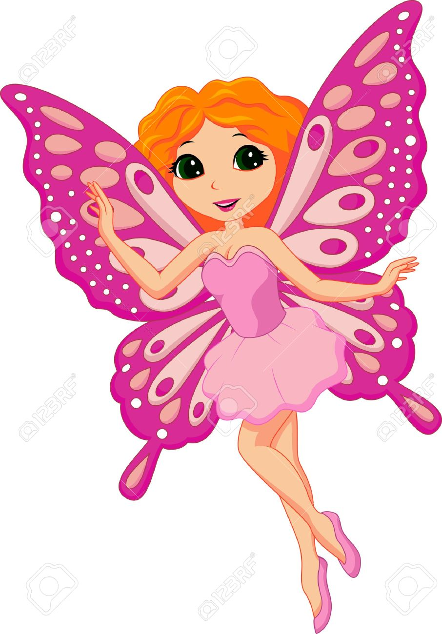 illustration of a beautiful pink fairy royalty free cliparts